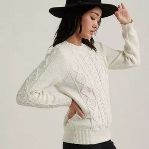 LUCKY BRAND White Cable Knit Crew Neck Sweater XS